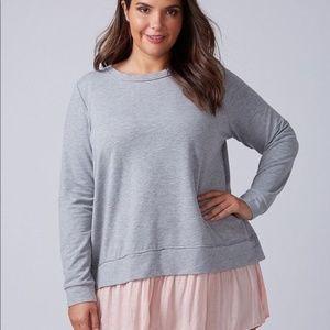 Lane Bryant Gray Sweater Pink Back/Bottom Ruffle